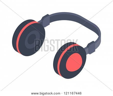 Isometric headphones vector icon isolated on a white background. Isometric headphones icon web. Isometric headphones music equipment. Isometric headphones device symbol.