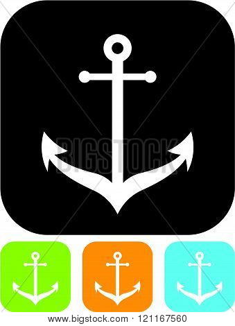 Marine anchor sign - Vector icon isolated.