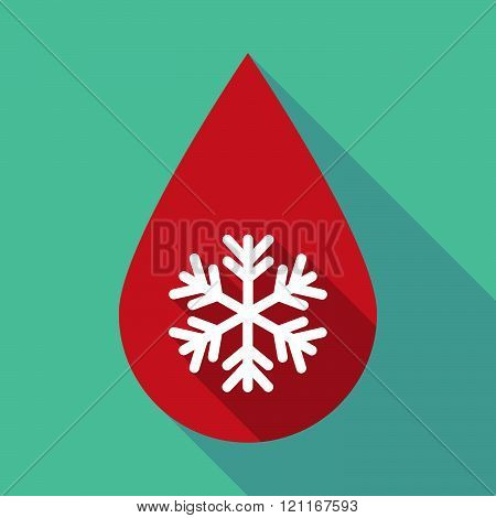Long Shadow Blood Drop With A Snow Flake