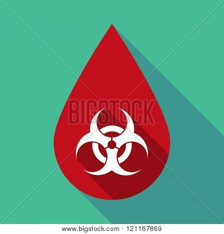 Long Shadow Blood Drop With A Biohazard Sign