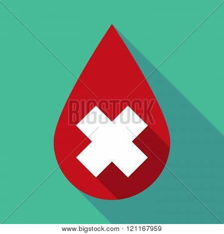 Long Shadow Blood Drop With An Irritating Substance Sign