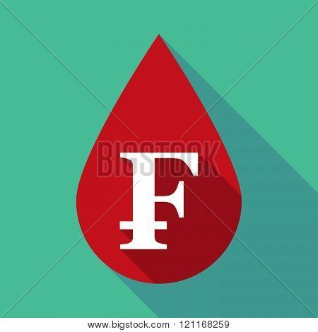 Long Shadow Blood Drop With A Swiss Franc Sign