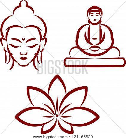 Buddha and Lotus - Symbols of Buddhism . Vector illustration