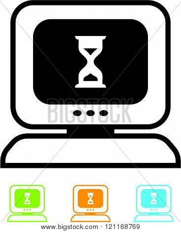 Desktop computer hung vector icon
