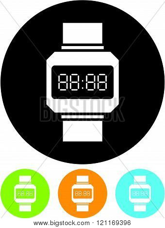 Digital watch Face Vector icon isolated