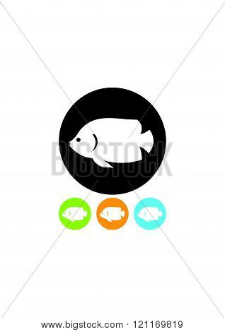 Tropical fish - vector icon isolated on white