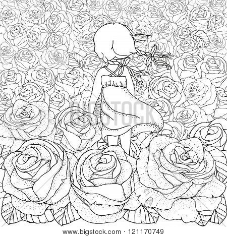 Little Girl Alone. Many Roses. Black And White Abstract Fantasy Picture. Wind, Clouds, Sun. Eco Them