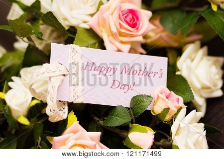 Mothers day violet card with rustic roses