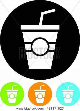 Glass with ice cream or milk shake - Vector icon isolated.