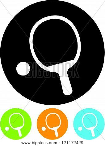 Ping Pong Paddle and Ball - Vector icon isolated