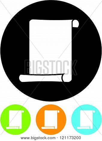 Paper Scroll Document - Vector icon isolated