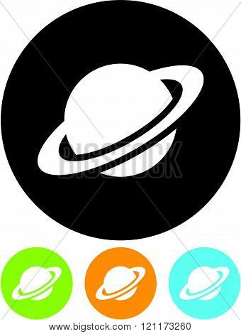 Planet Saturn in space - Vector icon isolated