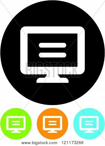 Computer screen with text message vector icon