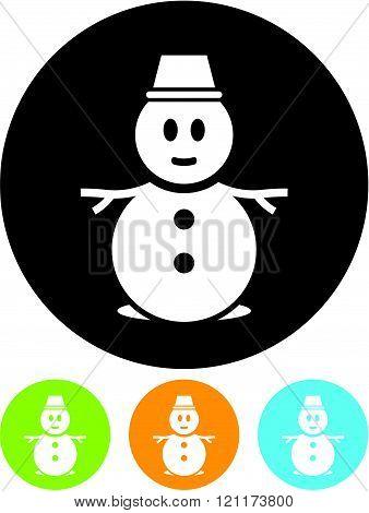 Snowman snow man - vector icon isolated