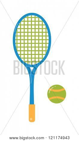 Tennis ball and racket flat illustration. Tennis illustration tennis racket and ball. illustration of tennis items. Tennis ball sport equipment. Tennis ball and racket flat .