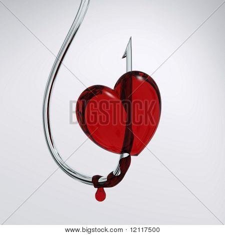 bloody heart on a hook