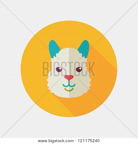 Lama Flat Icon. Animal Head Vector Symbol