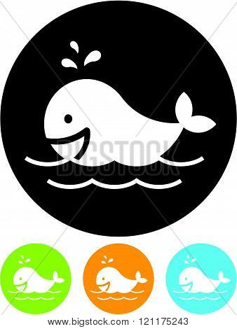 Whale at sea - Vector icon