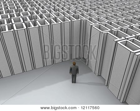 man standing at binary deadlock