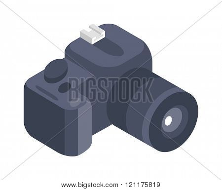 Photo camera vector icon isolated white background. Isometric vector photo camera in flat style taking photo. Isometric photo camera. Photo camera 3d isometric icon isolated. Photo camera icon symbol