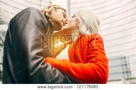 Passionated Couple Kiss In An Urban Area