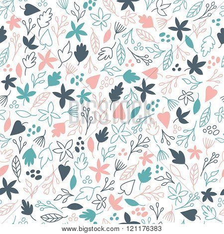 Seamless pattern, flowers and leaves on white background