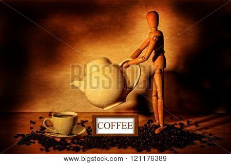Coffee cup and pot , with wood figure and coffee sign on coffee beans