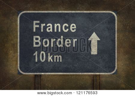 France Border 10 km Roadside Sign Illustration