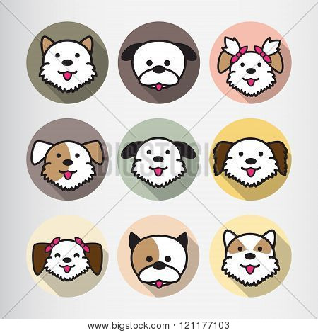 Dog Icon Flat Cartoon Design Vector Illustration