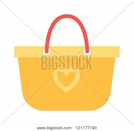 Summer bag icon isolated on white background. Summer bag vacation travelling concept. Flat design illustration Summer bag travel suitcase icon. Travel suitcase bag icon.