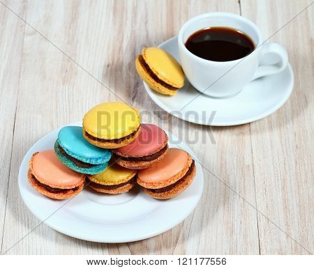 Macrons With A Cup Of Coffee