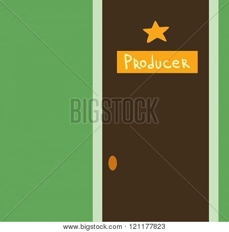Sound recording studio producer door vector illustration. Sound recording studio producer door isolated on white background. Sound recording studio producer door vector silhouette