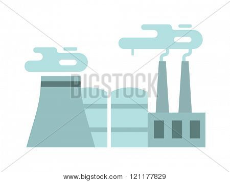 Flat thermoelectric power station flat vector illustration. Thermoelectric station vector. Thermoelectric station energy industry. Thermoelectric station factory vector. Energy industry.