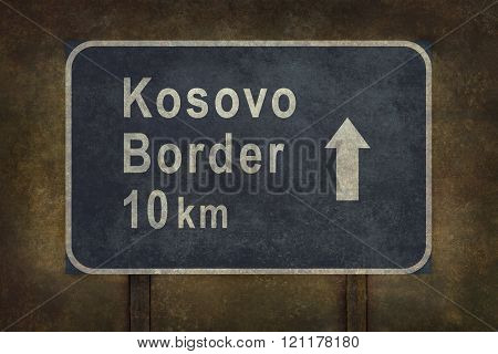 Kosovo Border 10 km Roadside Sign Illustration