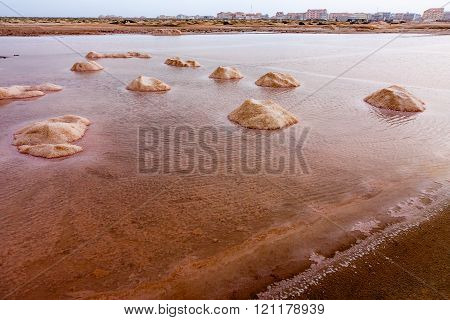 Salt evaporation mounds Salinas, Cape Verde, Africa