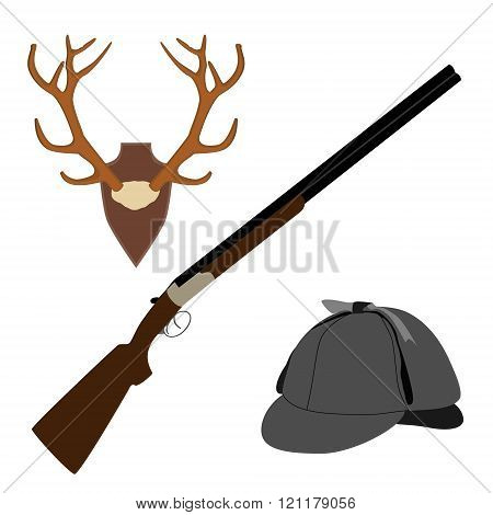 Deer Horns, Rifle And Hat
