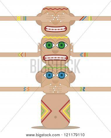 Totem Pole. The three wise monkeys.