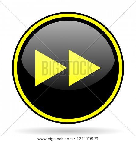 rewind black and yellow modern glossy web icon