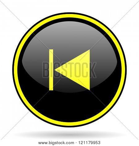prev black and yellow modern glossy web icon