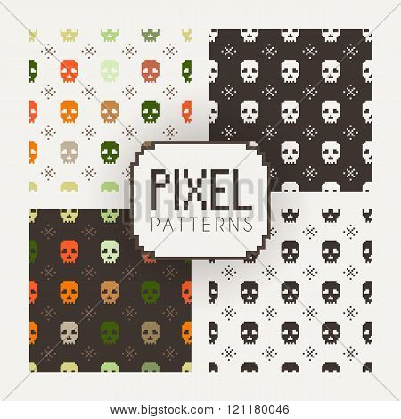 Set of vector seamless colorful and monochrome patterns of pixel skulls.