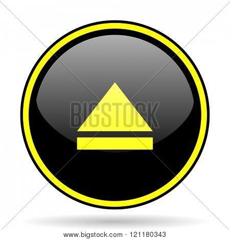 eject black and yellow modern glossy web icon