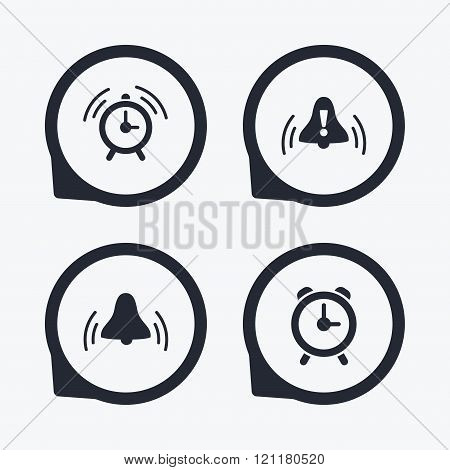 Alarm clock icons. Wake up bell signs symbols.