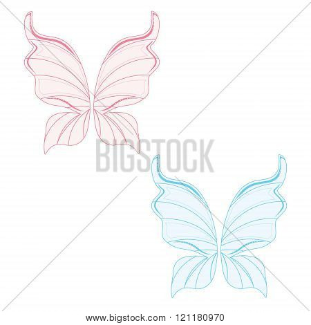 Vector illustration set of two transparent fairy wing blue and pink. Butterfly wings. Tooth fairy wings