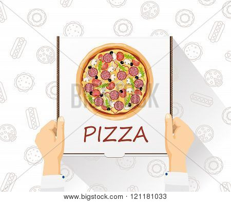Vector food delivery banner. Pizza delivery. Flat style, top view