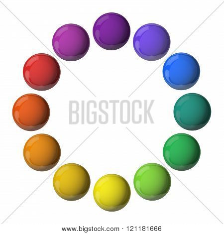 3D multi colored balls isolated on white