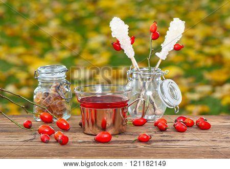 Rose Hip Tea On Garden Table