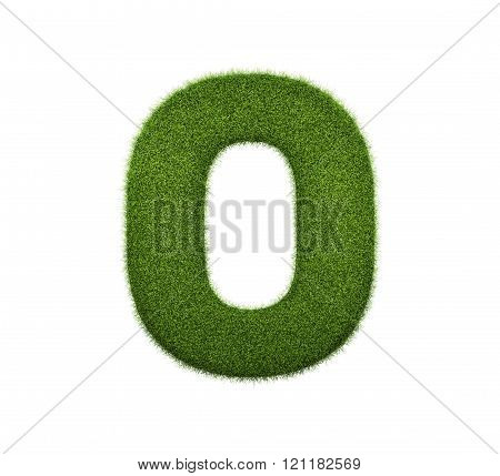 3d render of grass numbers  isolated on white