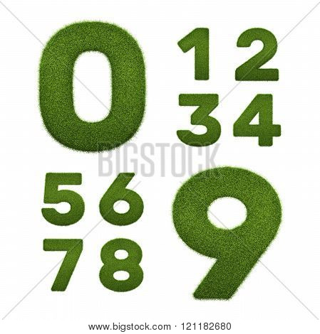Set of 3d render of grass numbers