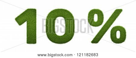 3d render of grass percent discount icon. Isolated on white