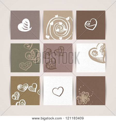 Set of Nine Creative Paper Cards. Hand Drawn Ink Textures. Vector. Hearts.